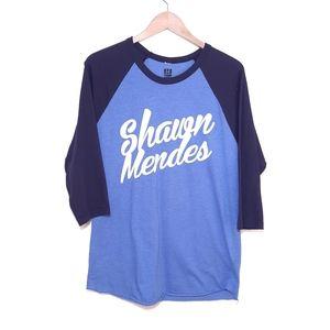 Shawn Mendez Blue Ringer 3/4 Sleeve T-shirt Large